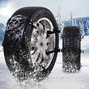 Snow Chains, 6 Pcs Emergency Tire Chains for Pickup Trucks/Cars/SUV/ATV, Universal Anti Slip Snow Chains Thickened TPU, Adjustable Traction Tire Straps, Snow Tire Chains
