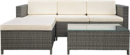 Outdoor Patio Furniture Couch 5 Piece Set Sectional Rattan Sofa Sets