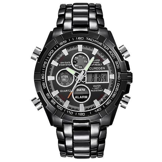 VEHOME Reloj de Cuarzo Digital LED para Hombres CURDDEN - Cronógrafo ❤ Relojes Hombre Deportivos automaticos Acero Inoxidable analogicos acuaticos Elegantes ...