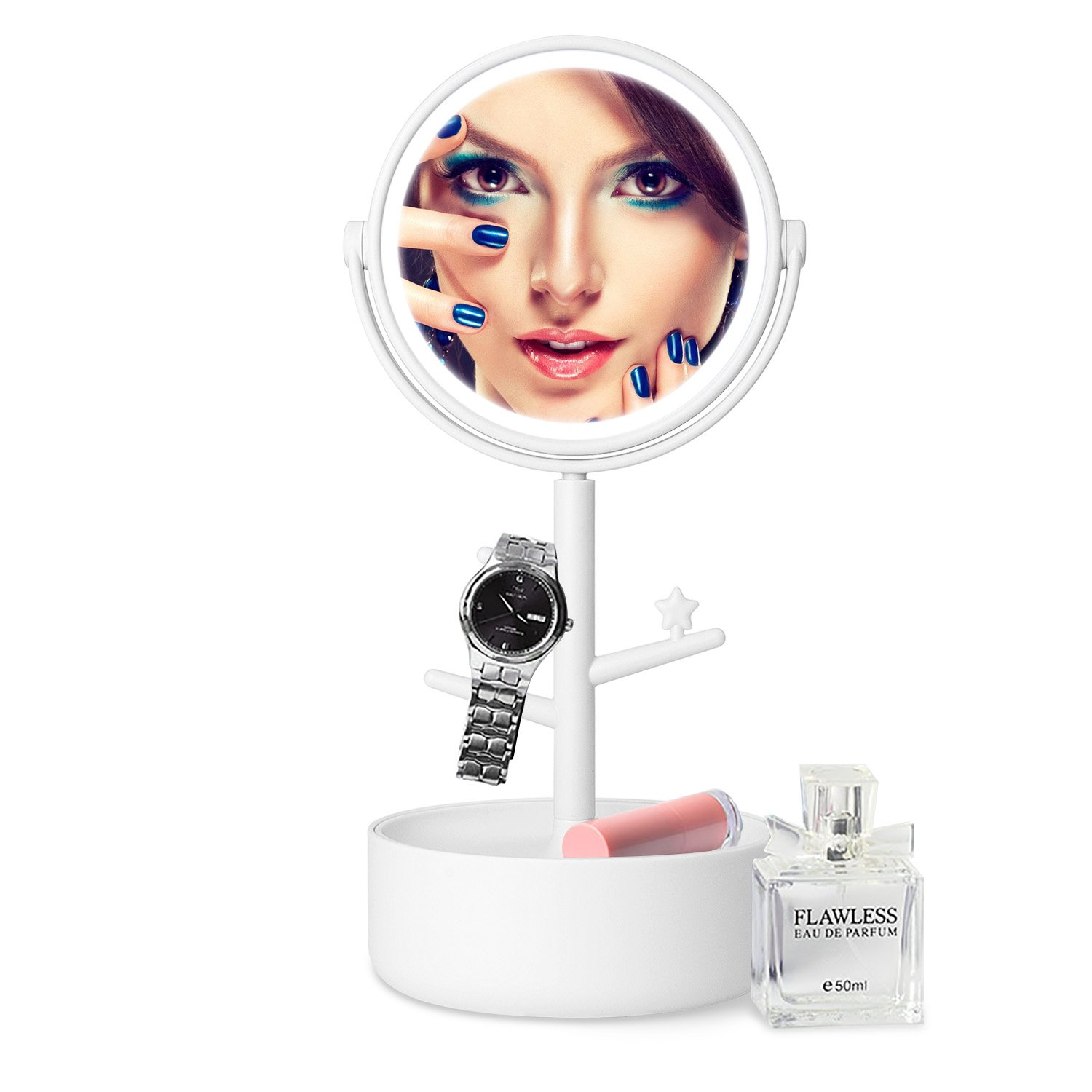FAMLOVE LED Lighted Makeup Mirror/Circle Touch Screen Vanity Mirror, Bathroom Countertop Cosmetic Mirrors Organizer, Batteries USB Charging, 360° Free Rotation - White