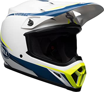 Bell linterna adulto MX-9 todoterreno casco – blanco/azul/amarillo