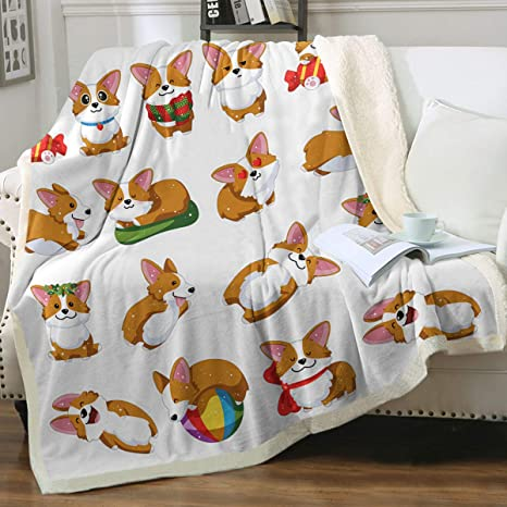 Hasdon-Hill Funny Corgi Dog Blanket Throw Smooth Soft Blanket Adult Women Boy Girl Kids Toddler for Sofa Couch Bed Office Travelling Camping 50x60