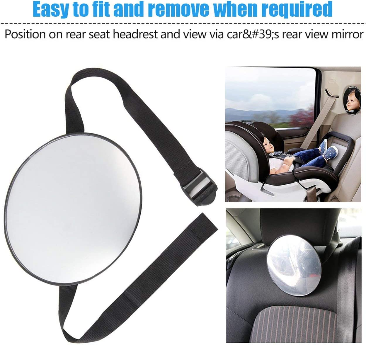 Lorenlli Stylish Car Safety Easy View Back Seat Mirror Baby Facing Rear Ward Child Infant Care Round Shape Baby Kids Monitor