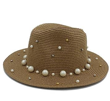 f7f1ec6824ea4 Sombreros Mujeres Hombres Verano Toquilla Paja con Perla Sombrero para Dama  Elegante Dama Ancha Homburg Fedora Sunbonnet Beach Sombrero para el Sol  Pañuelos ...