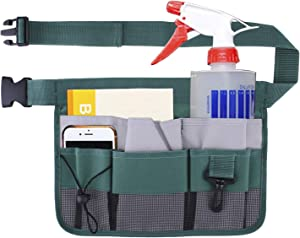Geboor Gardening Tool Waist Bag Belt Heavy Duty Oxford Tool Apron with 7 Pockets of Different Sizes and Depth (Green)