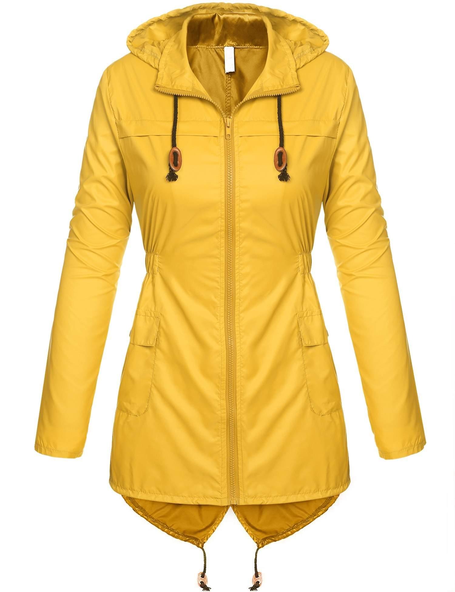 Beyove Women's Lightweight Packable Outdoor Coat Windproof Hoodies Rain Jacket Yellow S