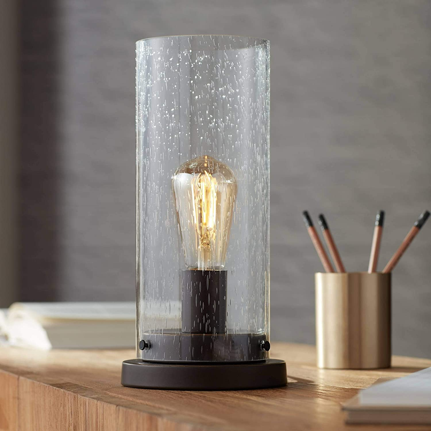 Libby rustic accent table lamp 12 high bronze metal round seedy glass cylinder shade led edison bulb for bedroom office 360 lighting