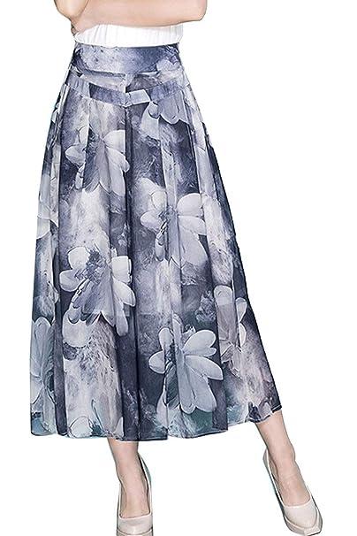 Falda Pantalon Mujer Elegantes Verano Cintura Alta Impresión Pantalones Anchos Anchos Casuales Moda Cómodo Culotte Retro Señora Pantalones Palazzo: ...
