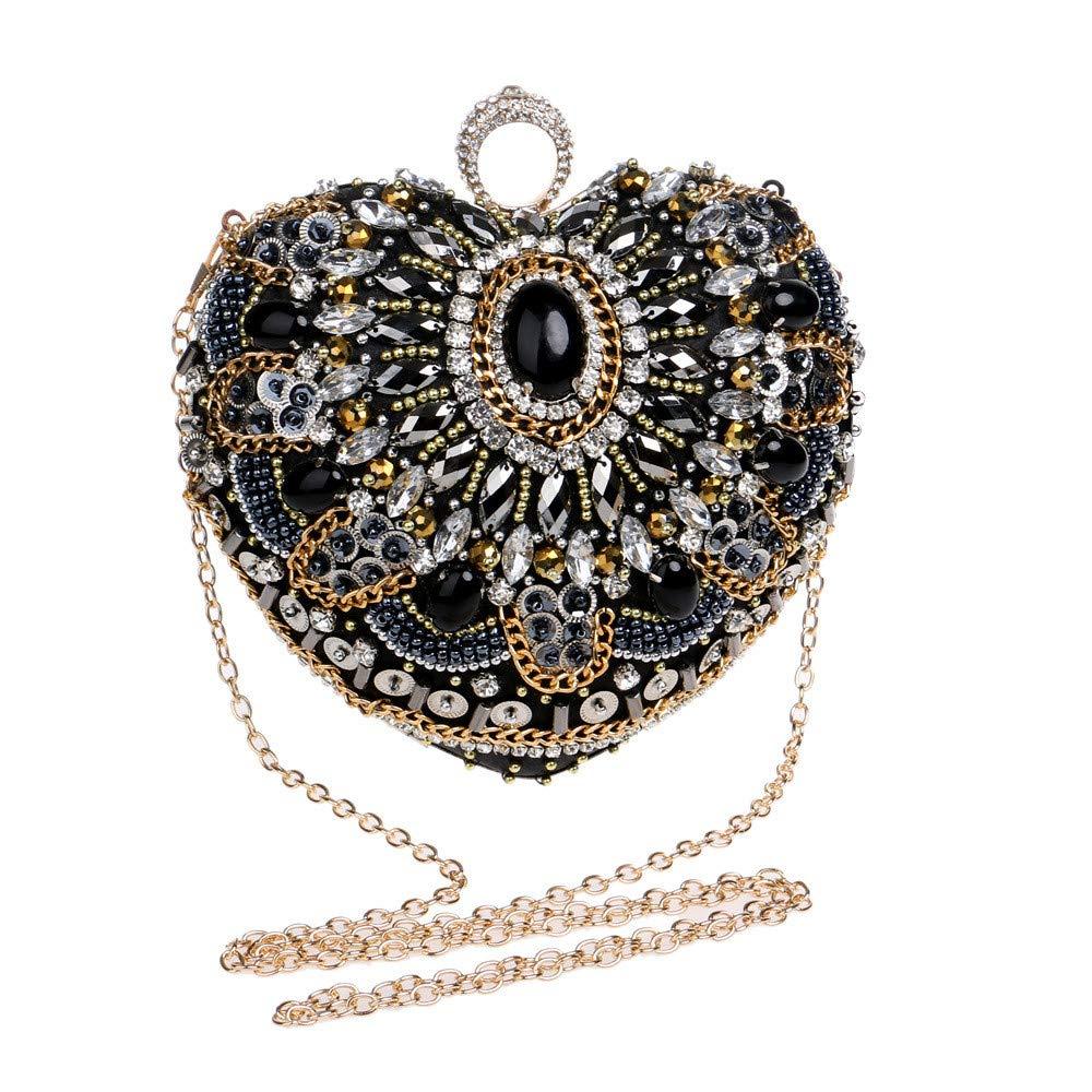 Black Amyannie Party Clutch Bag Women Heart-Shaped Multifunction Banquet Bags Handbag Rhinestone Crossbody Bag Shoulder Bags Dinner Wallet Sparkling Evening Bag
