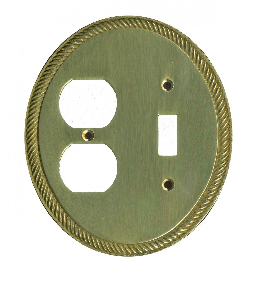 Switchplates Solid Brass Oval Braided Toggle/Outlet Switch Plate