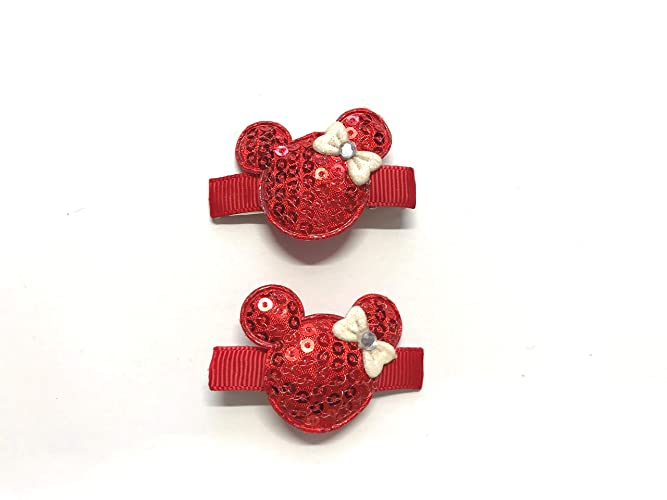 2e327d6205bf Amazon.com  Girls Minnie Mouse Hair Clips Disney Minnie Mouse Set of 2  Clips Red Sequin Mouse Ears  Handmade