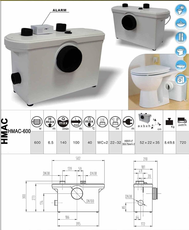 Hebeanlage Abwasserpumpe Pumpe Kleinhebeanlage F/äkalien WC Sanit/är 600 W Campingtoilette Schmutzwasserpumpe Haushaltspumpe F/äkalienhebeanlage