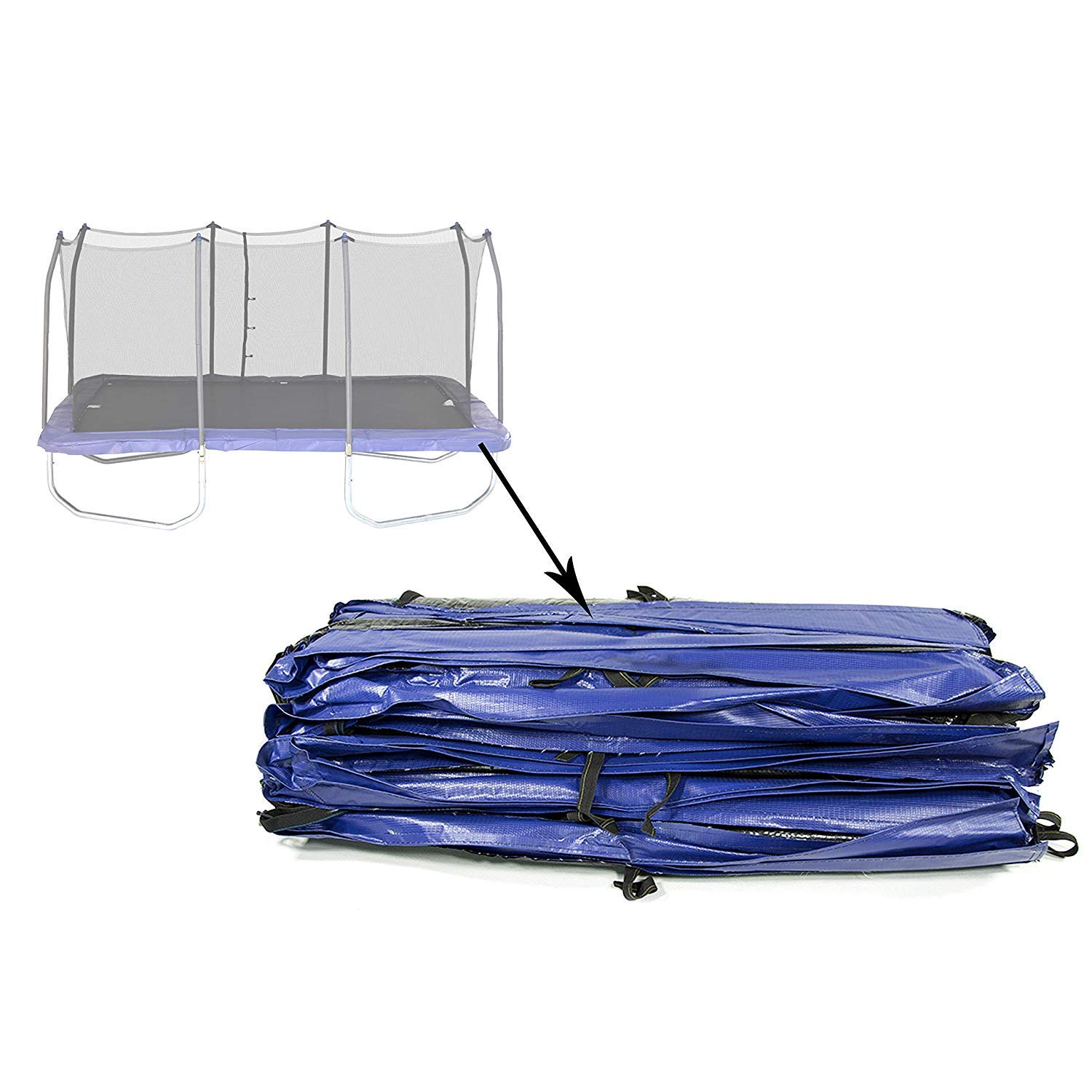 Skywalkers Trampolines Safety Pad 9x15 ft Replacement Parts Accesories. 9'x15' Rectangle Spring Blue Vinyl-Coated for Trampoline. Ultra High UV Protection. Compatibility STRC915