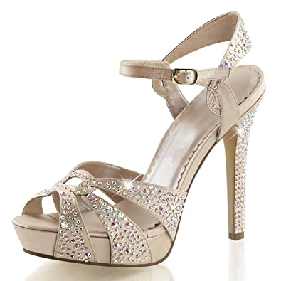 5b0d88793186 Summitfashions Womens Champagne High Heels Peep Toe Sandals Rhinestones Shoes  4 3 4 Heels Size