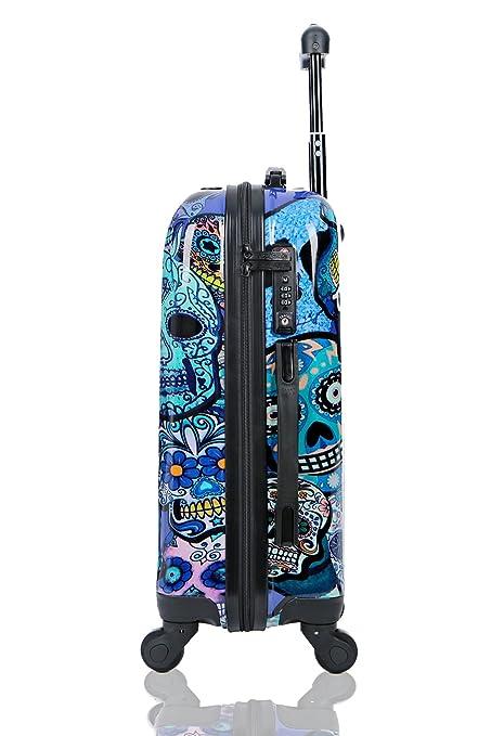 Maleta de cabina Equipaje de mano 55x40x20 Maleta juvenil trolley de viaje Ryanair Easyjet Maleta de viaje Rígida BLUE SKULLS (Preparada para Cargar ...