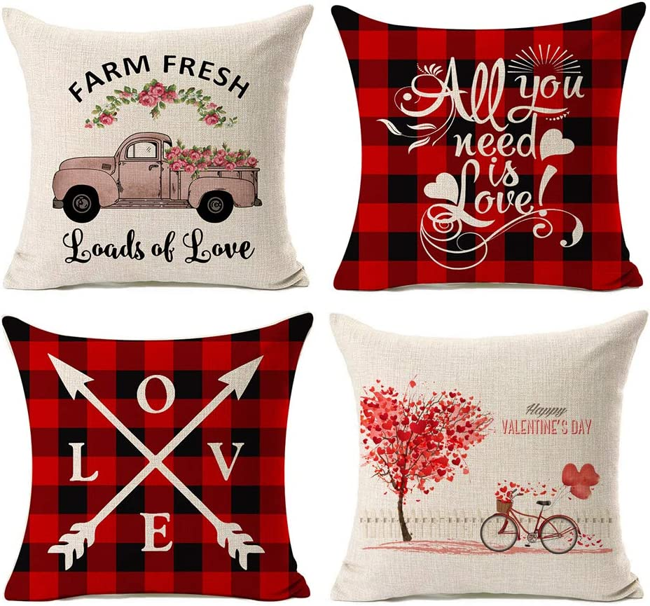 Amazon Com Kithomer Set Of 4 Valentines Day Pillow Covers Buffalo Plaid Farmhouse Decor Throw Pillow Cases Retro Truck Cushion Cover 18 X 18 Inch Home Decoration Home Kitchen