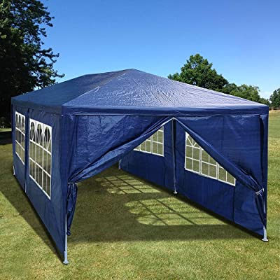 Mageshi 10'x20'Outdoor Tent Gazobo Canopy with 4 Removable Sidewalls Wedding Party Tent Waterproof UV Resistant PE Material Rust Corrosion Resistant Powder Coated Steel Framework Backyard Events Blue : Garden & Outdoor