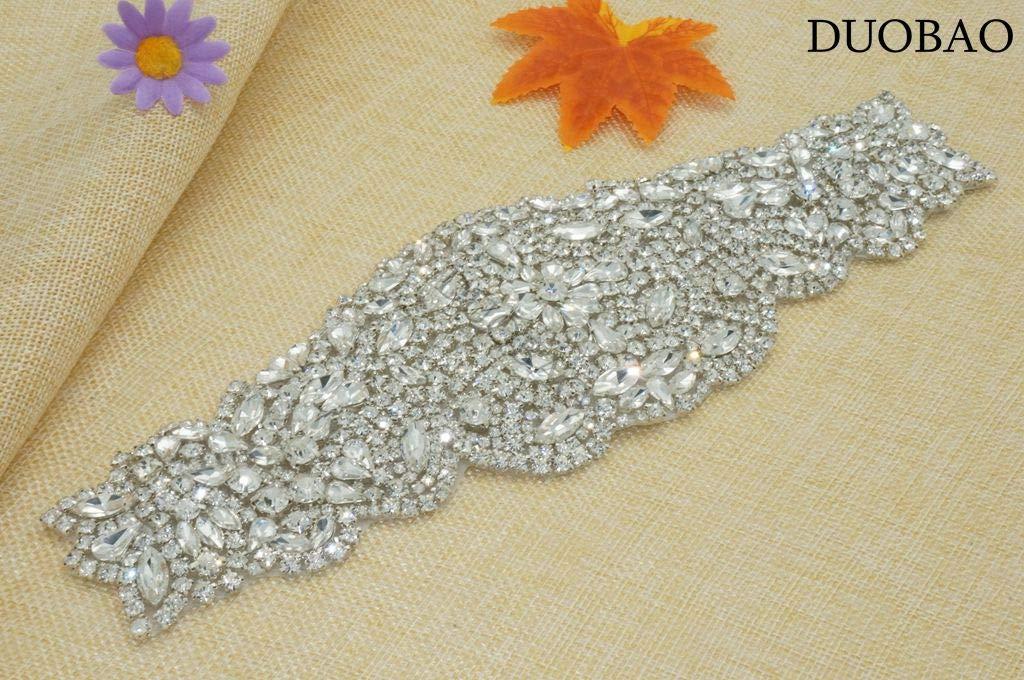 DUOBAO Rhinestone-Sash-Belt Crystal Appliques for Clothes Bridal Ivory Sash Belt Rhinestone Hair Applique Wedding Dresses Sash Rhinestone Applique Headband by DUOBAO