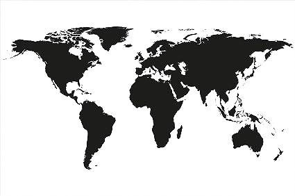 Carta Da Parati Fotografica Mappa Del Mondo In Bianco E Nero Quadro