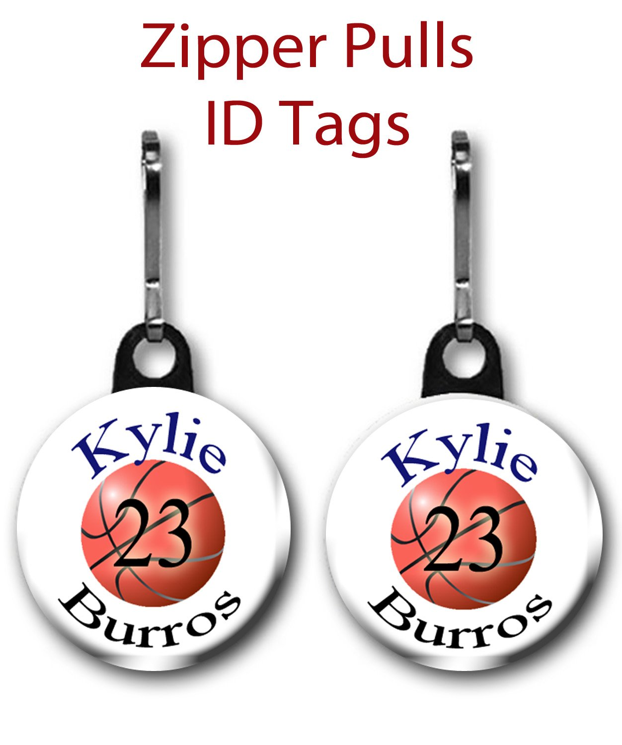 Amazon Com Personalized Basketball Zipper Pulls Bag Tags 2 Pack 1