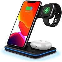 FDGAO Wireless Charger 15W Fast Wireless Charger Stand 3 IN 1 QI Charging Dock Station for Apple Watch Series 6/SE/5/4/3…