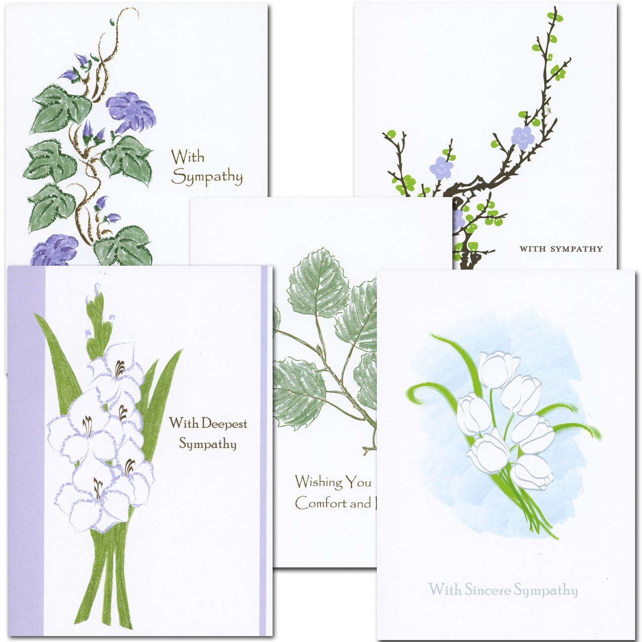 Amazon sympathy card assortment 2 each of 5 designs box amazon sympathy card assortment 2 each of 5 designs box of 10 cards envelopes greeting card envelopes office products kristyandbryce Choice Image