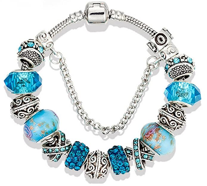 Fangzhao Handmade Multicolor Crystal Murano Glass Bracelet Fashion Jewelry Gift for Women Girls
