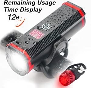 Domgoopet Rechargeable USB LED Bike Light Set, Runtime Display 12 Hours Waterproof Super Bright Headlight, Front and Back Bicycle Light,Fits All Bicycles, Mountain,Road