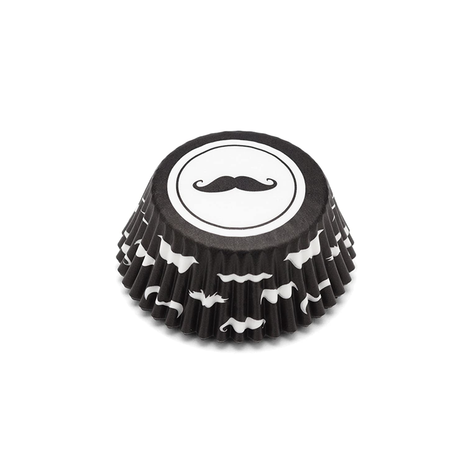 Fox Run 8046 Mustache Bake Cup Set, Standard, 100-Count, Black and White