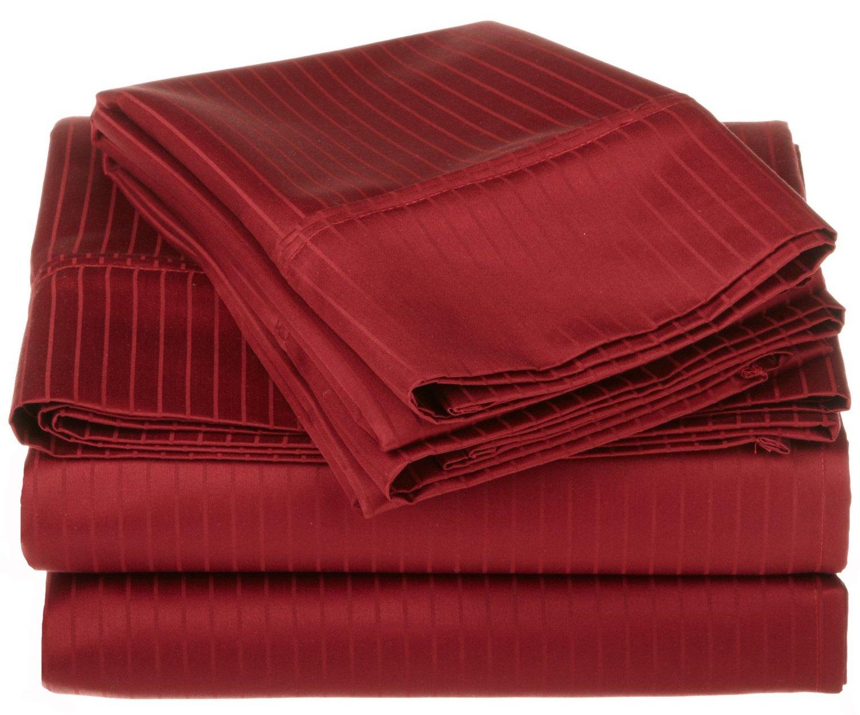 100% Premium Long-Staple Combed Cotton 1000 Thread Count Oversized California King Sheet Set Stripe, White Superior WHCKSHST1000