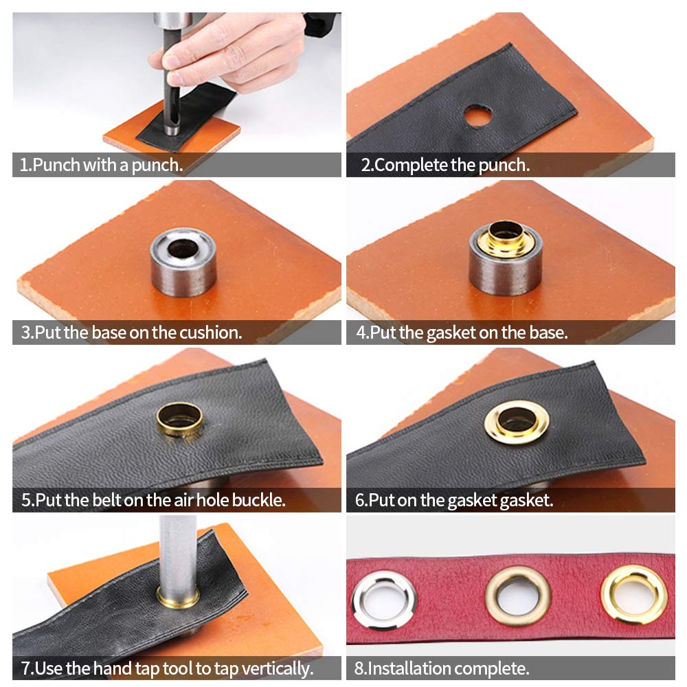 100 Sets 1//2 Inch Grommets Eyelets 3pcs Grommet Setting Tool with Storage Box for Craft Making Shoes Bags Canvas Leather Repairing Milisten Grommet Tool Kit