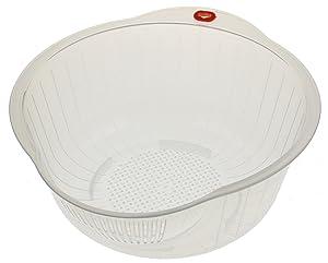Kotobuki Japanese Rice Washer with Dual Drain, Clear