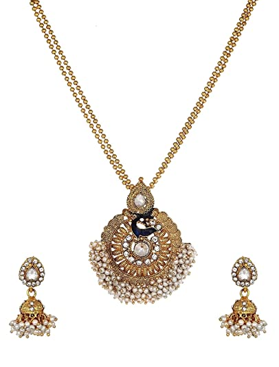 Buy Aabhu Gold Plated Long Peacock Design Pendant Necklace