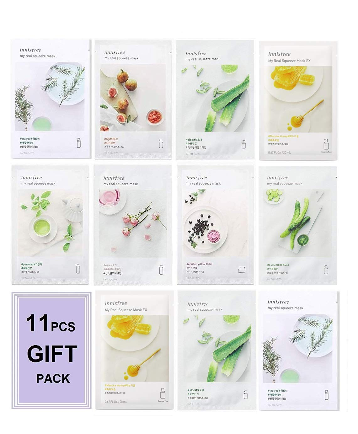 [New Upgraded] Innisfree Mask It's Real Squeeze Mask, now called My Real Squeeze Mask(Natural Cellulose Beauty Korean Face Sheet Masks 11pcs Custom Packaged in FACIAL-MASK Gift Pack)