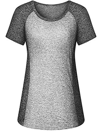 acf230b53f98c Women Yoga Tops, Short Sleeve O Neck Solid Color Breathable Fitness Workout  Sport Tee Tunic