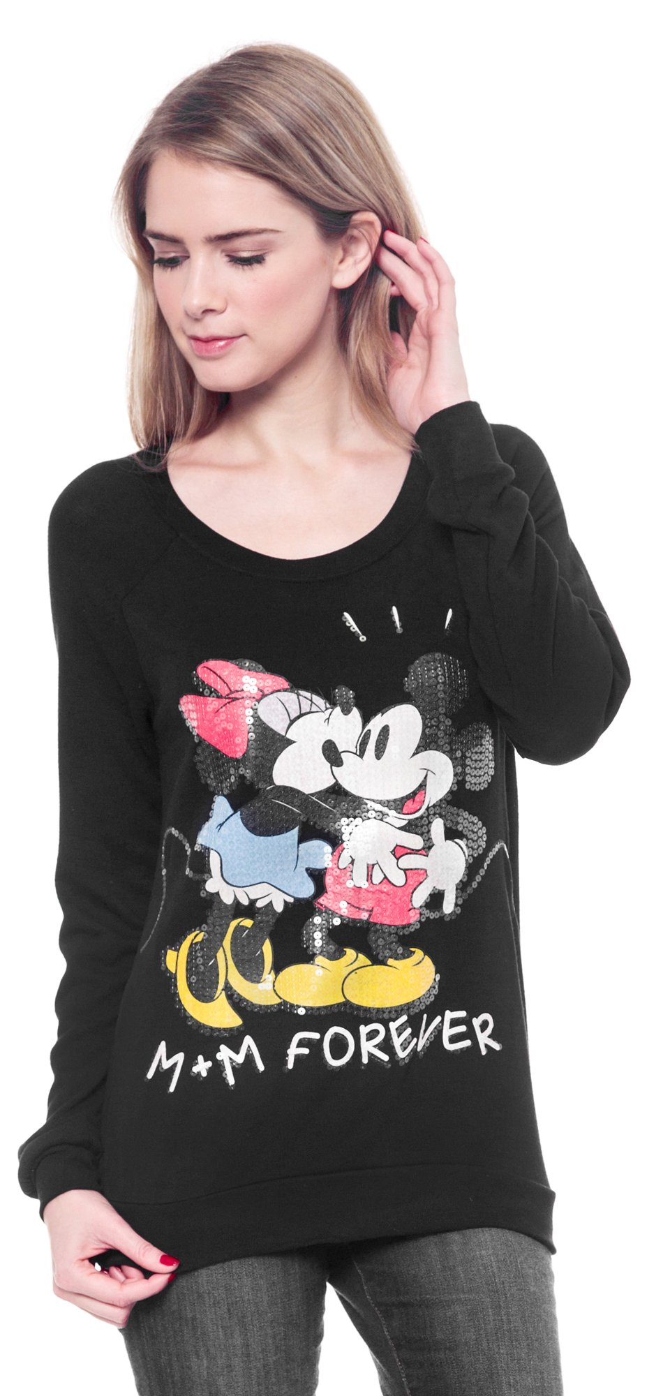 Disney Junior Mickey Minnie Mouse Shirt Pullover Long Sleeve Sequin (Large)