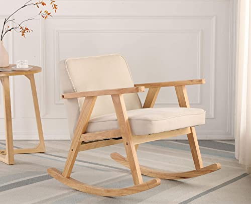 Guyou Modern Upholstered Wood Rocking Chair Fabric Nursery Rocker Lounge Arm Chair Single Sofa