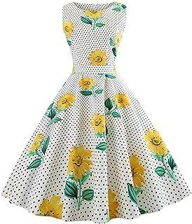 Sunnywill Women Dress, Women Sleeveless Floral Print Rockabilly Evening Party Dress Swing Dress Womens Stylish Slim Fit Midi Dress Evening Party Dress