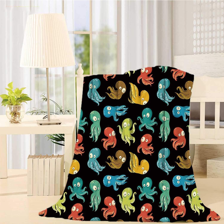 Escomdp Octopus Various Print Blanket,Octopus Cartoon