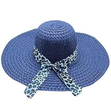 8789df9de09 Pausseo Women Straw Leopard Printing Big Brim Straw Hat Sun Floppy Wide  Hats Beach Cap Travels