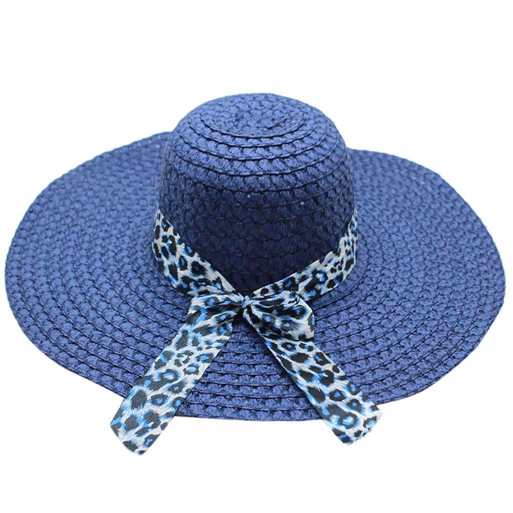 WUAI Womens Wide Brim Straw Hats Leopard Print Sun hat Folding Travel Beach Cap(Navy,Free size)