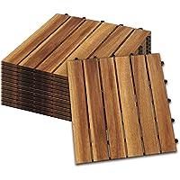 Hengda Houten Tegels 11 stuks Splicing vloer Balkon Terras ca. 1qm acaciahout FSC®-Gecertificeerd Tegels van 30 x 30 cm