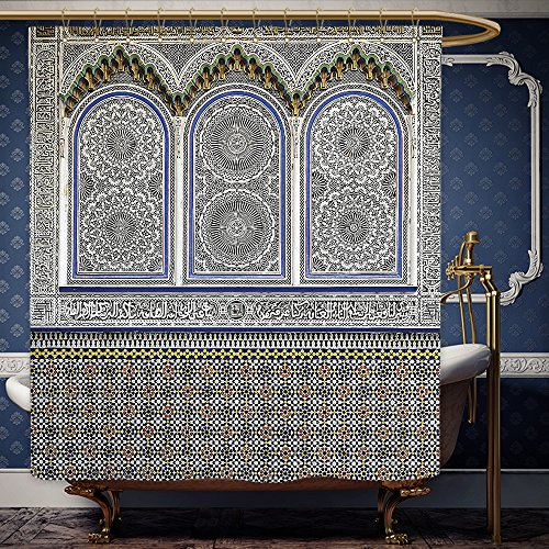 Wanranhome Custom-made shower curtain Arabian by Nostalgic Moroccan Architecture with Stone Carving and Motifs Majestic Ottoman Empire Artsy Multi For Bathroom Decoration 36 x 72 inches (Moroccan Lanterns Canada)