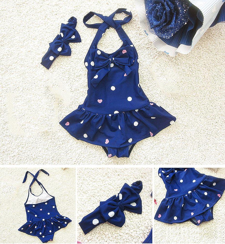 Sept.Filles Baby Girls Bikini Swimwear Plus Bowknot Headband Swimsuit