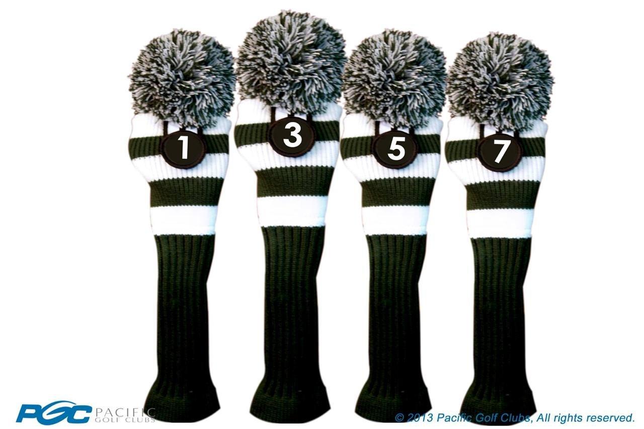 Majekゴルフクラブ1 3 5 7ホワイトとグリーンLimited EditionドライバーとフェアウェイウッドヘッドカバーFits 460 ccドライバーツアーニットレトロヴィンテージPomクラシックロングネックメタルLongneck Woods Headcovers B01DSCJTK8