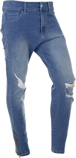 ダメージ スキニー ジーンズ メンズ デニムパンツ 裾ジップ ストレッチ お兄系 ちょいワル K020325-13HZ
