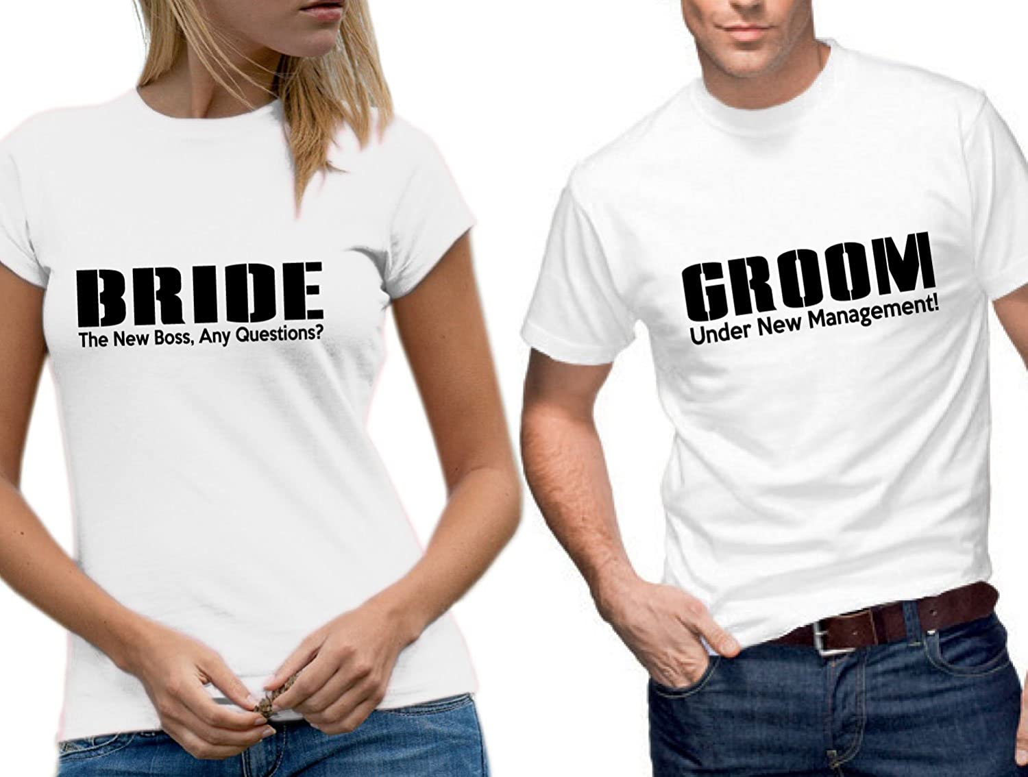 83d40fd942 Under Management Bride & Groom 'Just Married' Wedding T-Shirt Set:  Amazon.co.uk: Clothing