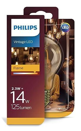 Philips Bombilla LED estándar retro/ filamento efecto llama, E27, 2.3 W equivalentes a