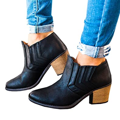 Women's Autumn Winter Chunky Low Heel Chelsea Round Toe Faux Stacked Ankle Bootie