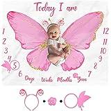 Butterfly Baby Monthly Milestone Blanket Girl Watercolor Baby Girl Monthly Blanket Age Photo Props Soft Fleece Blanket Milest